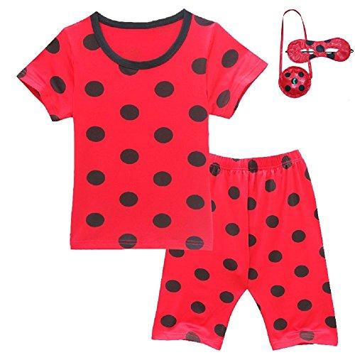 adybug Mädchen Trainingsanzüge Blinds Taschen Rote T-Shirts Hosen Sets (Kurz-Rot, 100CM) (Blinden Halloween Kostüm)