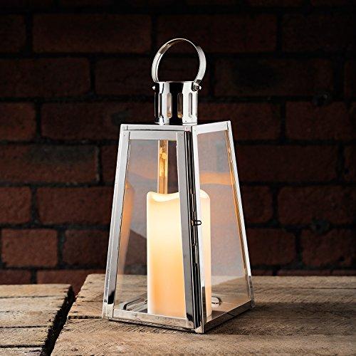 Farolillo grande a trapecio de acero con vela LED a pilas de Lights4fun