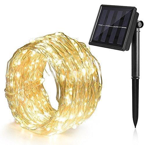 Ankway Cadena Luces Solares 8 Modes 12M 100 LED,  Luces led Solar con Alambre de Cobre Duradero,  IP65 Sensor de Luz Impermeable para Hogar Jardín Exterior Patio Valla Ventana Fiesta, Blanco cálido