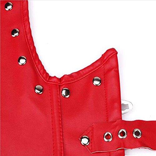 Pelle artificiale cincher Corsetto Steampunk Unterbust Donna Waist Trainer Bustino Top gilet red