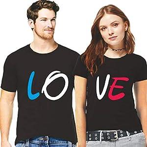Hangout Hub Couple Men's & Women's Cotton Printed Regular Fit T-Shirts (Pack of 2) – Love