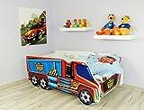 Alcube Kinderbett ab 2 Jahre aus MDF mit Matratze bis 150 Kg Truck Power 140 x 70 cm