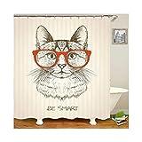 Bishilin Badvorhang Anti-Schimmel Katze mit Brille 3D Lustiger Duschvorhang Polyester-Stoff 150x180