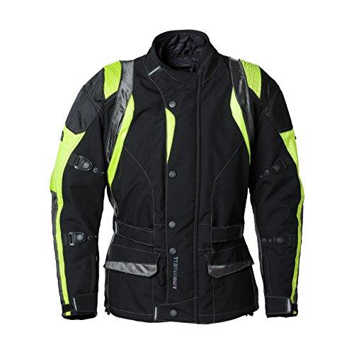 Lookwell heimsuchen Textil Motorrad Reitjacke, schwarz/neon-gelb, Größe 6X L