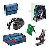 Bosch Professional Linienlaser GCL 2-50 CG (1x 2,0 Ah Akku, Ladegerät, Drehhalterung RM 2, Schutztasche, L-BOXX, 12 Volt, Arbeitsbereich mit Empfänger: 50 m)