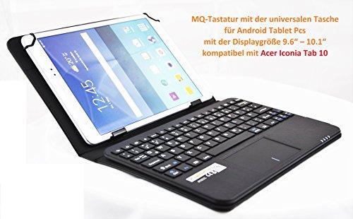 MQ - Acer Iconia Tab 10 Bluetooth Tastatur Tasche mit integriertem Multifunktions-Touchpad | Tastatur Hülle für Acer Iconia One 10 B3-A10, Acer Iconia One 10 B3-A20, Acer Iconia Tab 10 A3-A30, A3-A40, A3-A20HD | Layout Deutsch QWERTZ