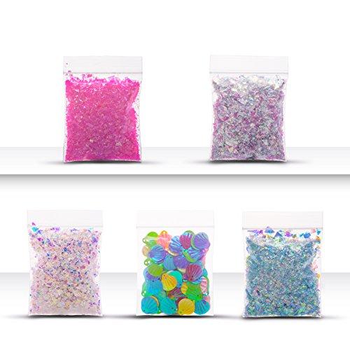 XYXtech 5pcs Crystal Clay Zubehör Bunte Zucker Papier Kristall Schlamm spielen Werkzeuge Kunststoff Werkzeuge Pailletten Bunte Muscheln für Hinzufügen Spaß, Kristall Schlamm zu - Crystal Zucker Schale