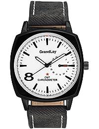 GRANDLAY GL-1087 SQUARE BLACK DIAL WATCH FOR MENZ (Black)