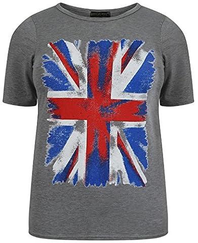 Neuer Frauen Plus Größe Graues American Union Jack-Flaggen-Druck-T-Stück Oberteile Union Jack-Grey 40-42