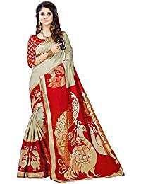 Rensila Fab Women's Bhagalpuri Art Silk Saree with Blouse Piece (Red & Beige)