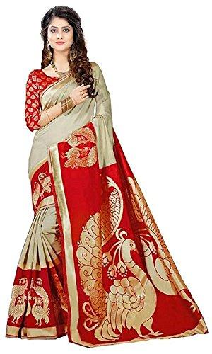 Rensila Fab Women's Bhagalpuri Art Silk Saree with Blouse Piece (Red & Beige)