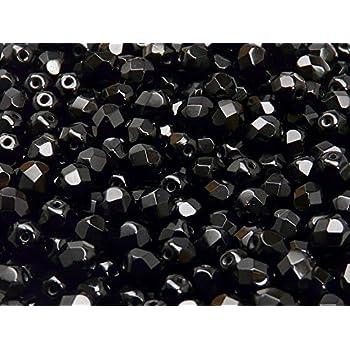 #GG22//1 4mm 100 Stk Facettierte Glasschliffperlen Schwarz AB