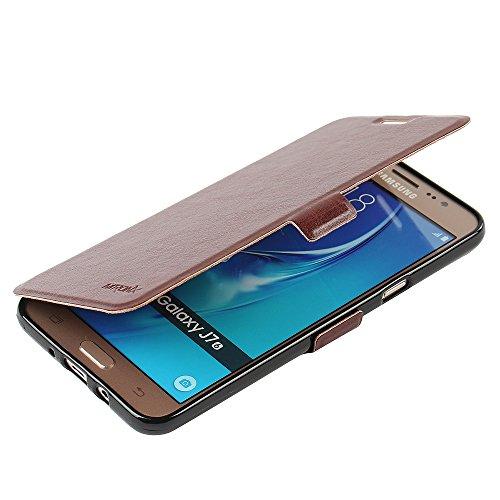 Samsung Galaxy J7 (2016) Hülle, MTRONX Case Cover Schutzhülle Tasche Etui Klapphülle Magnetisch Premium PU Leder Weich TPU Folio Flip Ständer und Kartenfach für Samsung Galaxy J7 (2016) - Braun(MSC-BN) (Mädchen Bn)