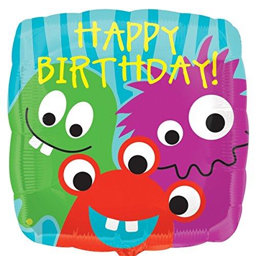 Folienballon Happy Birthday Monster HeXL unbefüllt, ca. 43 cm