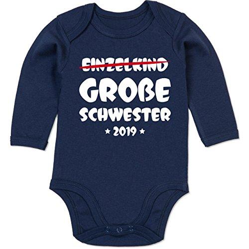 Shirtracer Geschwisterliebe Baby - Einzelkind Große Schwester 2019-12-18 Monate - Navy Blau - BZ30 - Baby Body Langarm