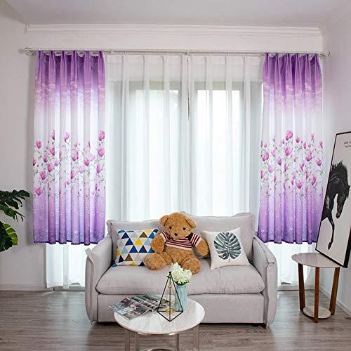 Homeofying Gardine für Wohnzimmer, Kinderzimmer, 100 x 200 cm, lila, nordisches Blumendesign (Cm Lang, 96 Vorhänge)