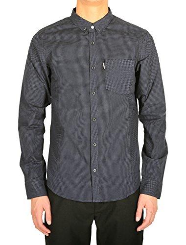 IRIEDAILY - Herren- Anliegendes Hemd ButtonDown Kieran mit Mikrokaromuster in Schwarz für herren Black
