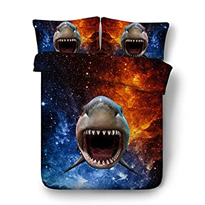 LifeisPerfect JF-535 HD Digital Shark bed sheets for kids 4pcs galaxy bed set Single Double Full Queen King size duvet cover bedding sets