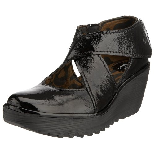 Fly London Yogo Women's Wedge Sandals - Black Patent, 7 UK