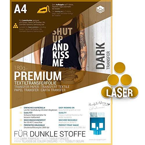 SKULLPAPER Premium A4 T-Shirt Tessile Transfer Film per tessuti scuri e colorati - incl. 200 + modelli di motivo gratis - per stampante laser (8 fogli)