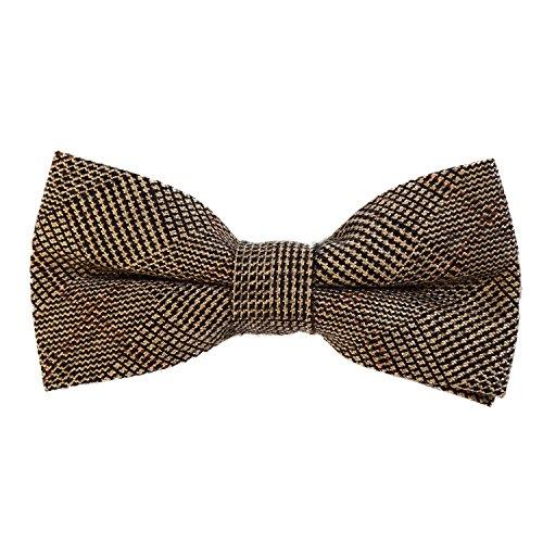 12 x 6 cm kariert gebunden und stufenlos justierbar aus Baumwolle im Tweed Style nussbraun (20er Jahre Mode Herren)