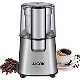 Aicok Coffee Grinder 200W Electric Spice Grinder with Detachable Bowl Stainless Steel Grinder for Beans, Spice, Nuts and Seeds 65g, Silver 51 ubH6 2B4SL