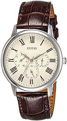 Guess W70016G2 - Reloj de cuarzo para hombre, correa de cuero color marrón