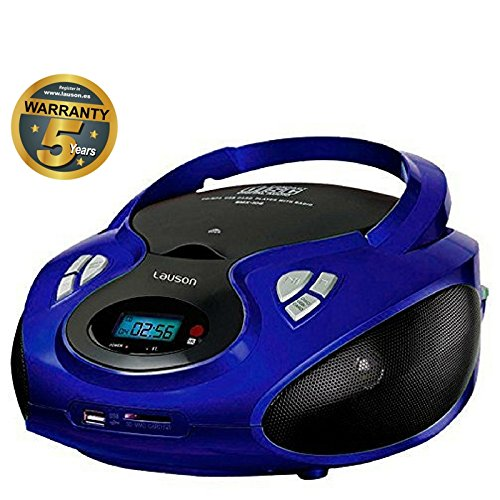 Lauson CD-Player | Tragbares Stereo Radio | USB | CD-MP3 Player für kinder | Stereo Radio | Stereoanlage | Kopfhöreranschluss | AUX IN | LCD-Display | Batterie sowie Strombetrieb | CP636 (Blau) (Cd-player Tragbare Stereoanlage)