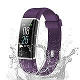 TOOBUR Fitness Armband, IP68 Wasserdicht Fitness Tracker Uhr mit Pulsmesser Schrittzähler Schlafmonitor und Kalorienzähler, Aktivitätstracker Smartwatch für Damen Frauen-Violett