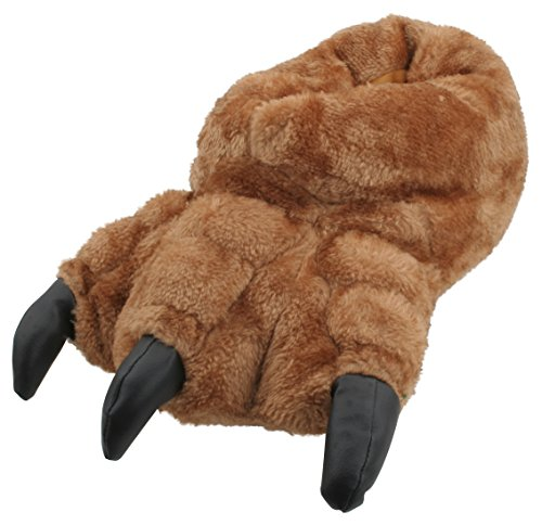 Slumberzzz Mens Novelty Plush Monster Claw Slippers Brown 11-12 UK