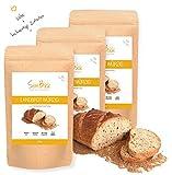 SlimBack - Low Carb Landbrot Würzig - 3er Pack (Ergibt ca. 1440g) - Brot Backmischung - Kohlenhydratarm | Glutenfrei | Ballaststoffreich | Sojafrei | Eiweißbrot ohne Getreide