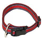 Hundehalsband, Wienerlock®, Soft Nylon, Rot mit Muster, 30-50cm, 20mm, mit Zugentlastung