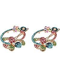 Pink Rose - Princess Collection Multicolour Alloy Stone Hair Clips For Women/Girls (Set Of 2)