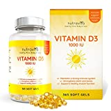 Vitamin D3 1,000 IU 365 Softgels 1 Year Supply by Nutravita