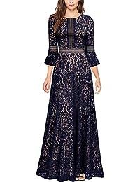 MIUSOL Damen Trompete Armel Spitzen Hochzeit Kleid Cocktail Maxi Abendkleid