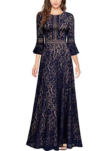 (Miusol Damen Trompete Armel Spitzen Hochzeit Kleid Cocktail Maxi Abendkleid Navy Blau M)