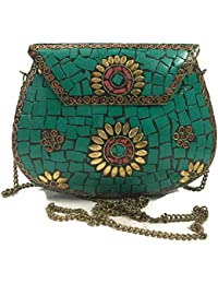 Turquoise Party Sling Clutch Mosaic Bag Stone Clutch Ethnic Metal Box Bridal Wallet Indian Vintage Bag Party Clutches...