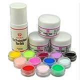Coscelia Nail Art 12 Pz Polvere Acrilica Colori + 1 Pz Liquido Acrilico per Unghie Decorazioni