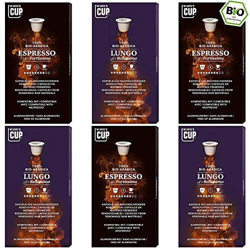 Kaffee-Duo-Box - 6 x 10 BIO Kaffeekapseln von My-CoffeeCup | Kompatibel mit Nespresso®*-Maschinen | 100% kompostierbare Kapseln ohne Alu | 60 Kapseln 2 Sorten