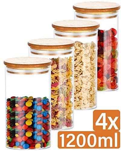 Praknu Vorratsdosen Glas mit Deckel 4er Set - Luftdicht - 8 Dichtungen - 1,2 L - Spülmaschinenfest