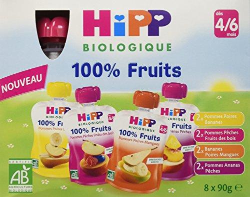 Hipp Biologique 100% Fruits Multipack 4 Variétés dès 4/6 mois - 32 gourdes de 90 g
