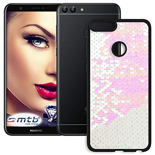 mtb more energy® Schutz-Hülle Magic für Huawei P smart (5.65'') | rosa - weiß | Wende-Pailletten | flexibel | TPU Case Cover Tasche