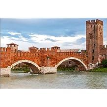 Cuadro sobre lienzo 90 x 60 cm: Scaligero bridge in Verona de Colourbox - cuadro terminado, cuadro sobre bastidor, lámina terminada sobre lienzo auténtico, impresión en lienzo