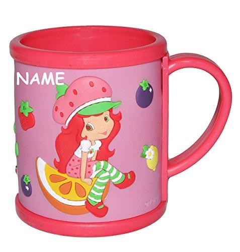-D Relief - Emily Erdbeer incl. Namen - Kunststoff / Plastik - Kindertasse Becher Plastiktasse Tassen - Mädchen Erdbeere Frucht Puppe - für Kinder (Kunststoff-becher Mit Henkel)