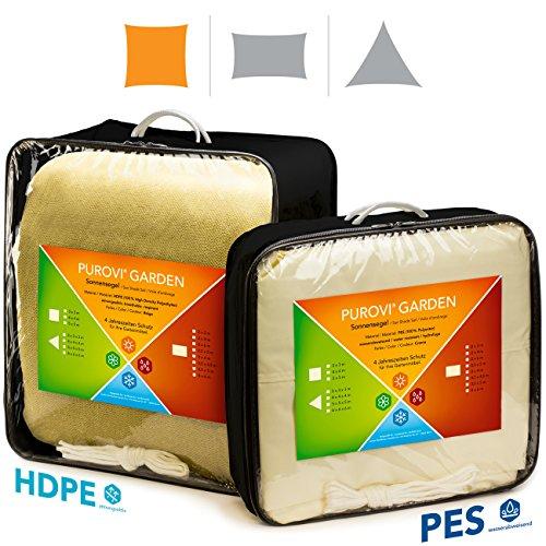 Purovi Voile d'ombrage | Carré avec Protection Anti-UV | En Polyester Imperméable à l'eau | 5m x 5m en PES