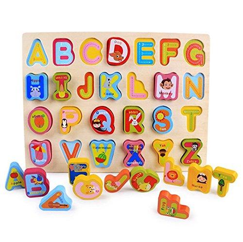 Holz Puzzle Board, moonvvin 3D Puzzle für Mädchen Jungen Kleinkinder Babys Kinder Holz Puzzle Spielzeug für 2–7Jahre–Zahlen, Alphabet, und Form Puzzle Alphabet