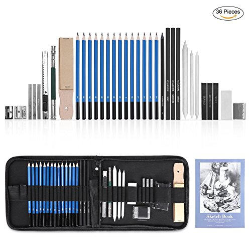 GHB 36 Stück Bleistifte Skizzierstifte Set Skizzieren und Zeichnen Professionelle Art Set mit Graphitkohlestifte Sticks Werkzeuge und Kit Bag