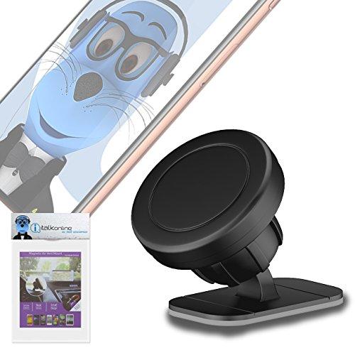 iTALKonline Case Kompatibel Multi-Direction (Verwendung mit Oder ohne vorhandene Kiste!) Schwarz Magnetische Lüftungsöffnung im KFZ-Halter für HTC U Ultra