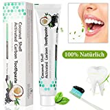 Natürliche Zahnaufhellung Aktivkohle Zahnpasta Ohne Fluorid für weiße Zähne Zahnreinigung Zahn Schützen Aufhellen Frischer Atem, Charcoal Bleeching Teeth Whitening Toothpaste - Minzgeschmack