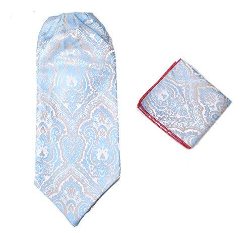 Herren-Premium-Ascot-Krawatte, Italienische Designerkrawatte, 100% Seide, Paisleymuster, mit Einstecktuch Gr. Einheitsgröße, hellblau